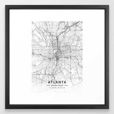 Atlanta, United States - Light Map Framed Art Print - Society6