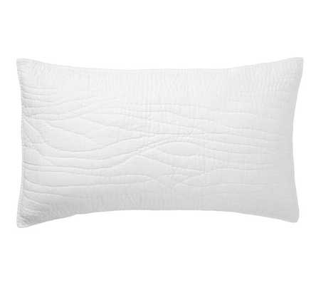 Belgian Flax Linen Hand Stitched Sham, King, White - Pottery Barn