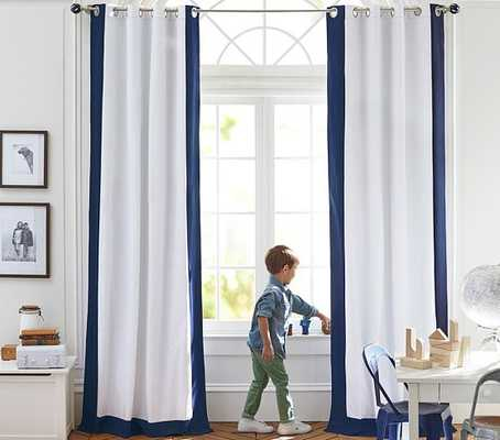 "Color Bordered Blackout Panel, Navy, 84"" - Pottery Barn Kids"