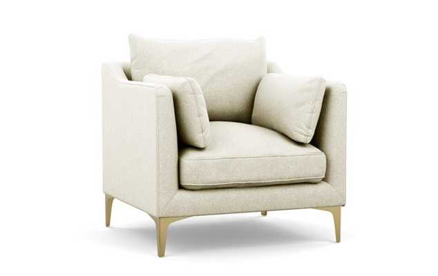 CAITLIN BY THE EVERYGIRL Petite Chair, Vanilla Static Weave, Brass Plated Sloan L Leg - Interior Define