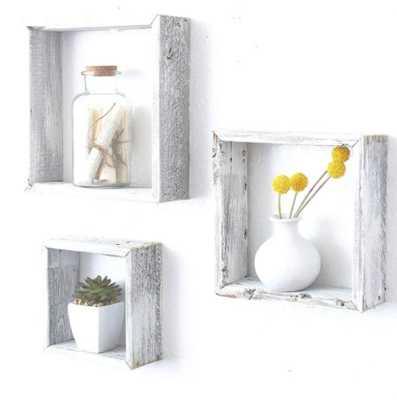 Rayshawn 3 Piece Square Floating Shelf with Reclaimed Wood White - Wayfair