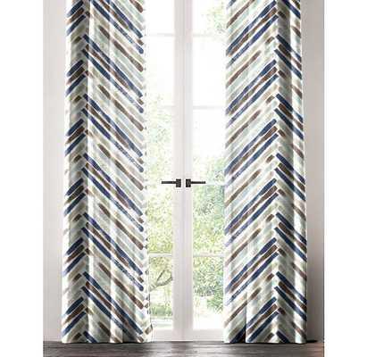 "Brayden Studio Horsley Chevron Single Curtain Panel: 50"" W x 96"" L - Blue/Brown - Wayfair"