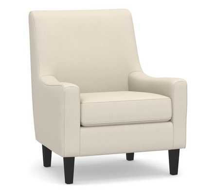 SoMa Isaac Upholstered Armchair, Polyester Wrapped Cushions, Basketweave Slub Oatmeal - Pottery Barn