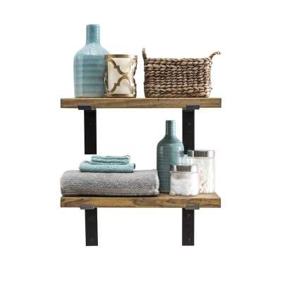 "Orlando Industrial Accent Shelves - Walnut - 24""x10"" - set of 2 - Wayfair"