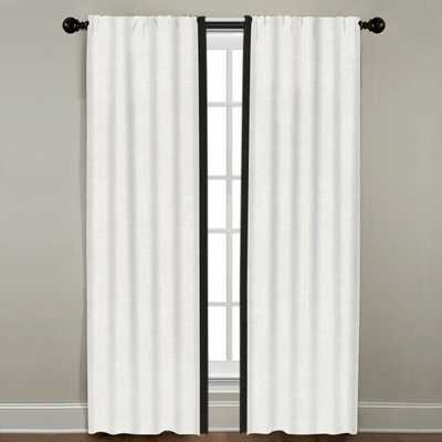 "Linen Border Drapery Single Panel, Oyster with Black, 96"" - Havenly Essentials"