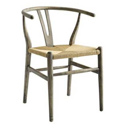 AMISH DINING WOOD SIDE CHAIR IN WEATHERED GRAY - Modway Furniture