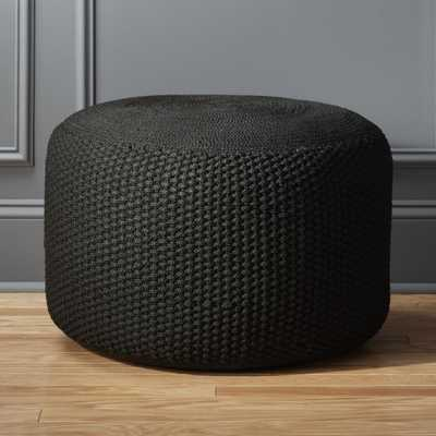 criss knit black pouf - CB2