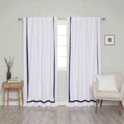 Kylen Ribbon Bordered Cotton Blackout Thermal Rod Pocket Curtains ( set of 2 ) - Wayfair