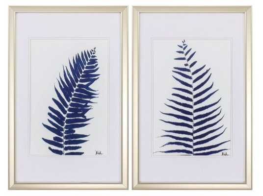 'Indigo Ferns' 2 Piece Framed Print Set - Wayfair