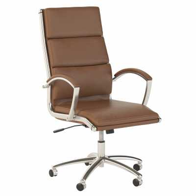 Jamestown High Back Leather Executive Office Chair In Saddle Leather - Wayfair