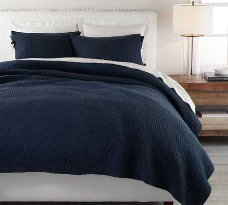 Pick-Stitch Handcrafted Quilt, Full/Queen, Midnight Blue - Pottery Barn
