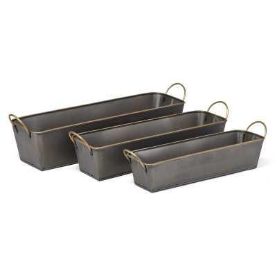 Carron Galvanized 3 - PieceMetal Planter Box Set - Wayfair