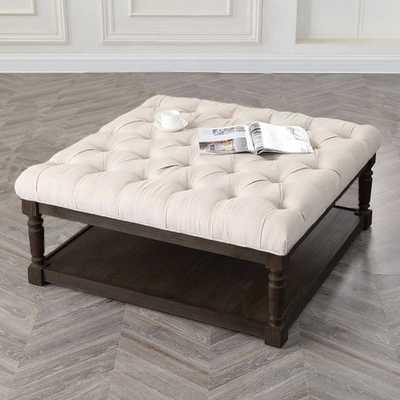 Best Master Furniture Smoked Upholstered Cocktail Ottoman Beige - Overstock