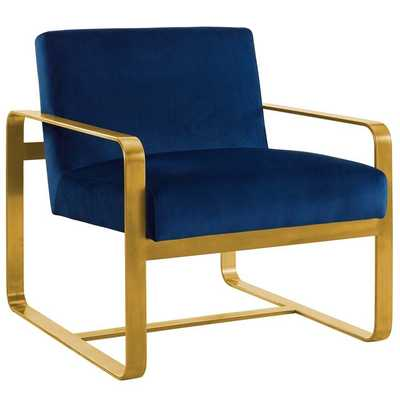 ASTUTE UPHOLSTERED VELVET ARMCHAIR IN NAVY - Modway Furniture