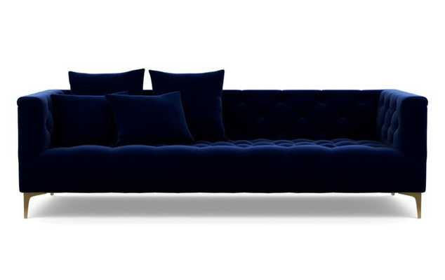 Ms. Chesterfield Sofa in Oxford Blue Fabric with Oiled Walnut with Brass Cap legs - Interior Define