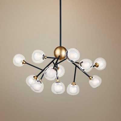 """ET2 Pod 39 1/2"""" Wide Black and Gold 12-Light LED Pendant - Lamps Plus"""