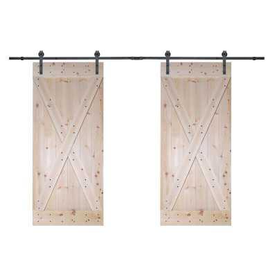 Paneled Wood Unfinished Barn Door with Installation Hardware Kit (Set of 2) - Wayfair