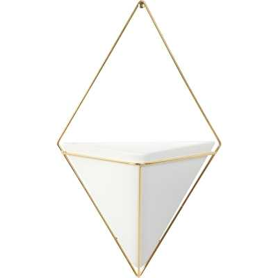 Trigg Ceramic Planter Wall Decor - WHITE/BRASS - Wayfair
