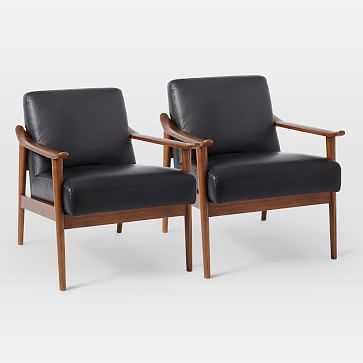 Midcentury Show Wood Leather Chair, Nero/Pecan, Set of 2 - West Elm