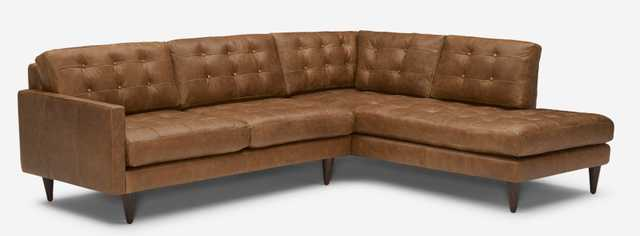 Eliot Leather Sectional with Bumper - Right Arm Orientation - in Santiago Ale with Mocha Wood Stain - Joybird