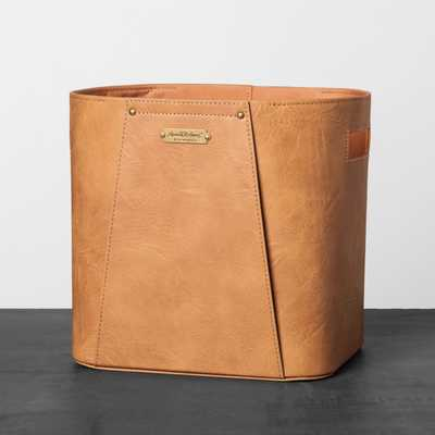 Faux Leather Storage Bin Brown - Hearth & Hand™ with Magnolia - Target
