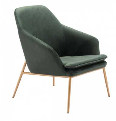 Debonair Arm Chair Green Velvet - Zuri Studios