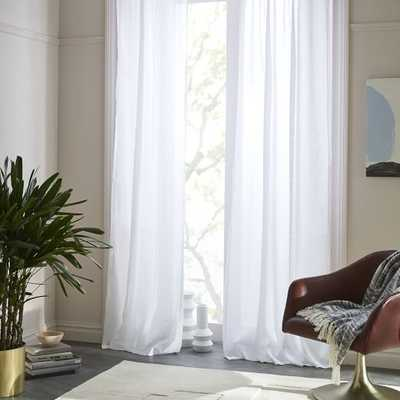 "Sheer Belgian Flax Linen Curtain, White, 48""x96"" - West Elm"