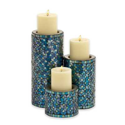 Ridge Road Décor 3-Piece Metal Mosaic Candle Holder Set in Turquoise - Bed Bath & Beyond