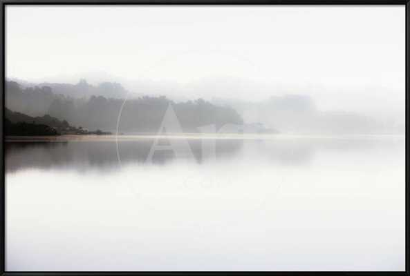 "Scenic View Of Crystal Springs Reservoir In The Early Morning Light_Finished Size: 37"" x 25""_Black Framed Canvas - art.com"
