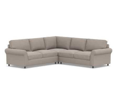 PB Comfort Roll Arm Upholstered 3-Piece L-Shaped Corner Sectional, Box Edge Memory Foam Cushions, Performance Everydayvelvet(TM) Carbon - Pottery Barn