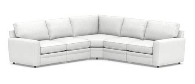 Pearce Square Arm Upholstered 5-Piece Reclining L-Shaped Sectional, Down Blend Wrapped Cushions, Performance Slub Cotton White - Pottery Barn