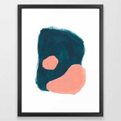 Minimalist Abstract Colorful Mid Century Modern Art Painting Teal Blue Salmon Pink Blobs Framed Art Print - Society6