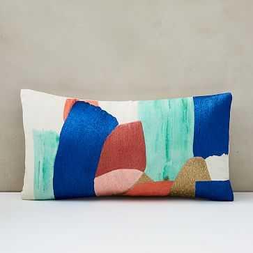 "Bold Brushstrokes Brocade Pillow Cover, 12""x21"", Multi - West Elm"