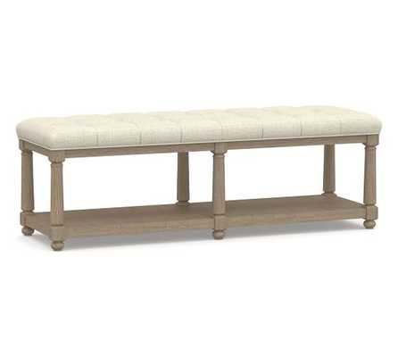 Berlin Tufted Bench, Basketweave Slub Oatmeal - Pottery Barn