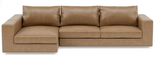 WALTERS LEATHER Leather Sectional Sofa with Left Standard Chaise / Palomino Pigment-Dyed Leather - Interior Define