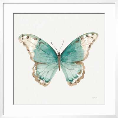 """Colorful Breeze XII with Teal - 30"""" x 30"""" Art Print - Chelsea White 0.75"""" Frame -  - Crisp - Bright White 3"""" Mat - Standard Acrylic - art.com"""