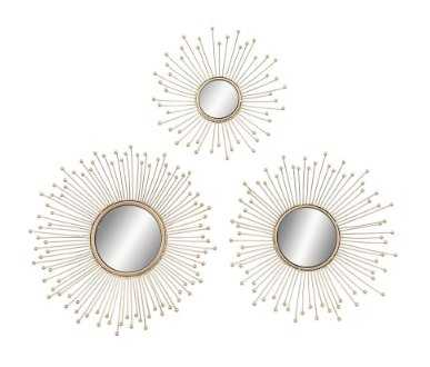 Hover Image to Zoom Burst-Style Framed Round Wall Mirrors (Set of 3) - Home Depot