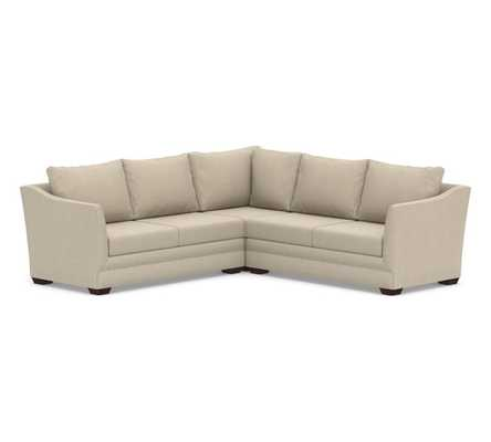 Celeste Upholstered 3-Piece L-Shaped Corner Sectional, Polyester Wrapped Cushions, Sunbrella(R) Performance Chenille Cloud - Pottery Barn