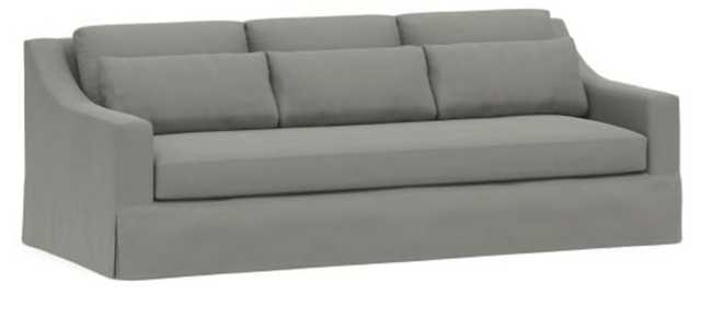 """York Slope Arm Slipcovered Deep Seat Grand Sofa 95"""" with Bench Cushion, Down Blend Wrapped Cushions, Performance Everydaysuede™ , Metal Gray - Pottery Barn"""