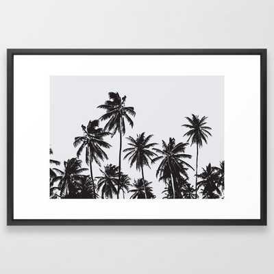 "Palm 05 Framed Art Print - by Theoldartstudio 26 x 38"" vector black - Society6"