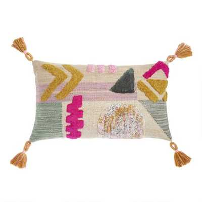 Geometric Wool Shag Lumbar Pillow - World Market/Cost Plus