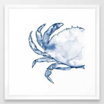 Coastal Crab in Watercolor, Navy Blue (Left Half in Set) Framed Art Print - Society6