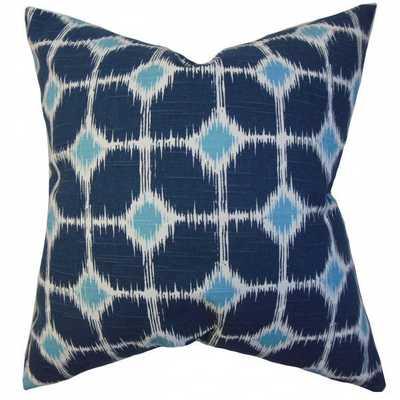 "Kyd Geometric Pillow Blue - 20"" x20"" - Down Insert - Linen & Seam"