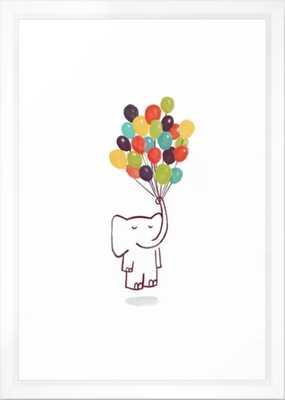 """Flying Elephant Framed Art Print - 15"""" x 21"""" - vector white - Society6"""