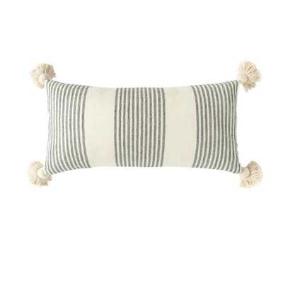 Perry Striped Lumbar Pillow, gray. 27 x 14 - Cove Goods