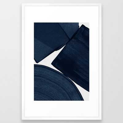 Minimalist Painting Blue II, Modern Abstract Framed Art Print - Society6