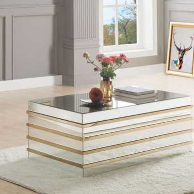 Rillie Modern Rectangular Metal and Mirror Coffee Table - Wayfair