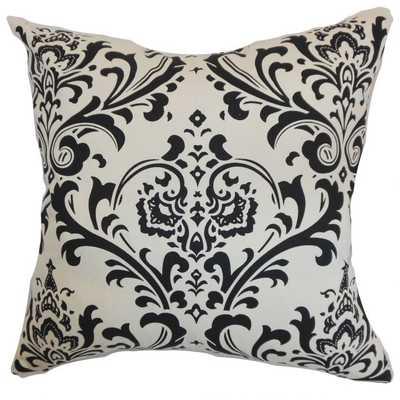"""Olavarria Damask Pillow Black White- 18"""" x 18""""- high-fiber polyester pillow insert - Linen & Seam"""