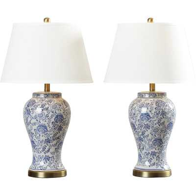 "Spring Blossom 29"" Blue/White Table Lamp Set (Set of 2) - Wayfair"