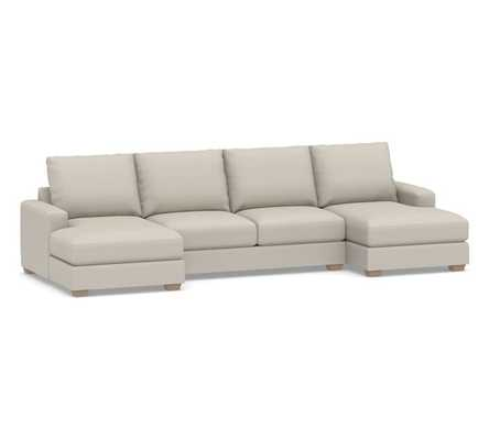 Canyon Square Arm Upholstered U-Chaise Loveseat Sectional, Down Blend Wrapped Cushions, Performance Heathered Tweed Pebble - Pottery Barn